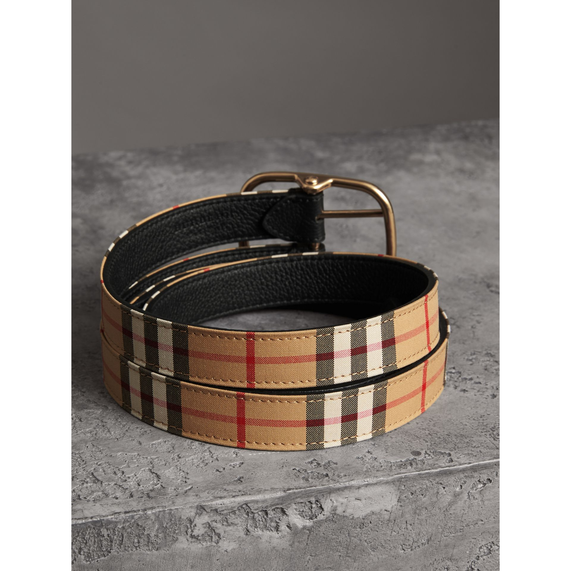Vintage Check and Leather Double-strap Belt in Black - Women | Burberry Australia - gallery image 3