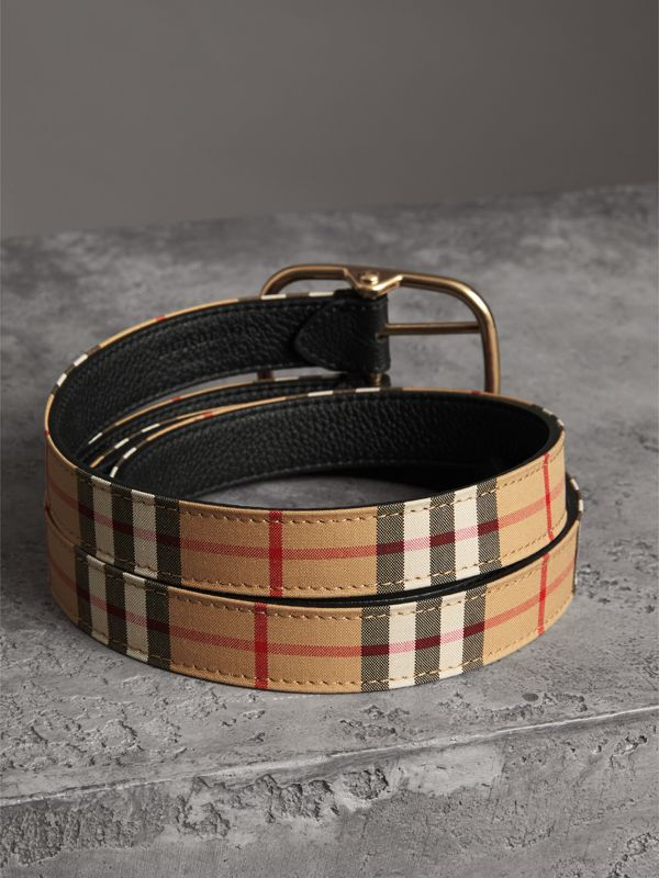 Vintage Check and Leather Double-strap Belt in Black - Women | Burberry United Kingdom - cell image 3