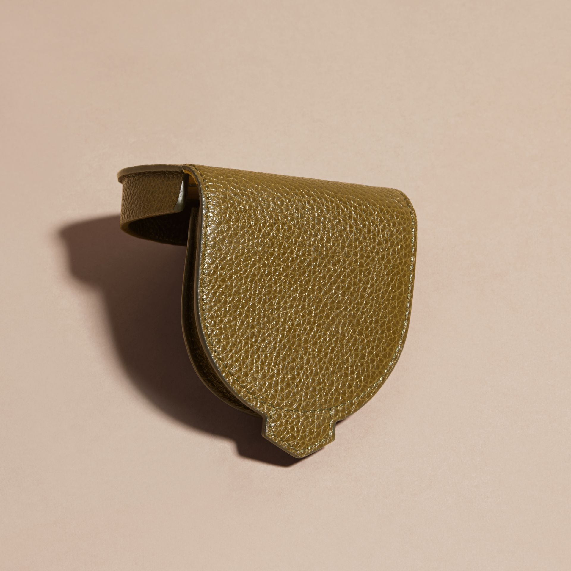 Olive green Grainy Leather Coin Case Olive Green - gallery image 4