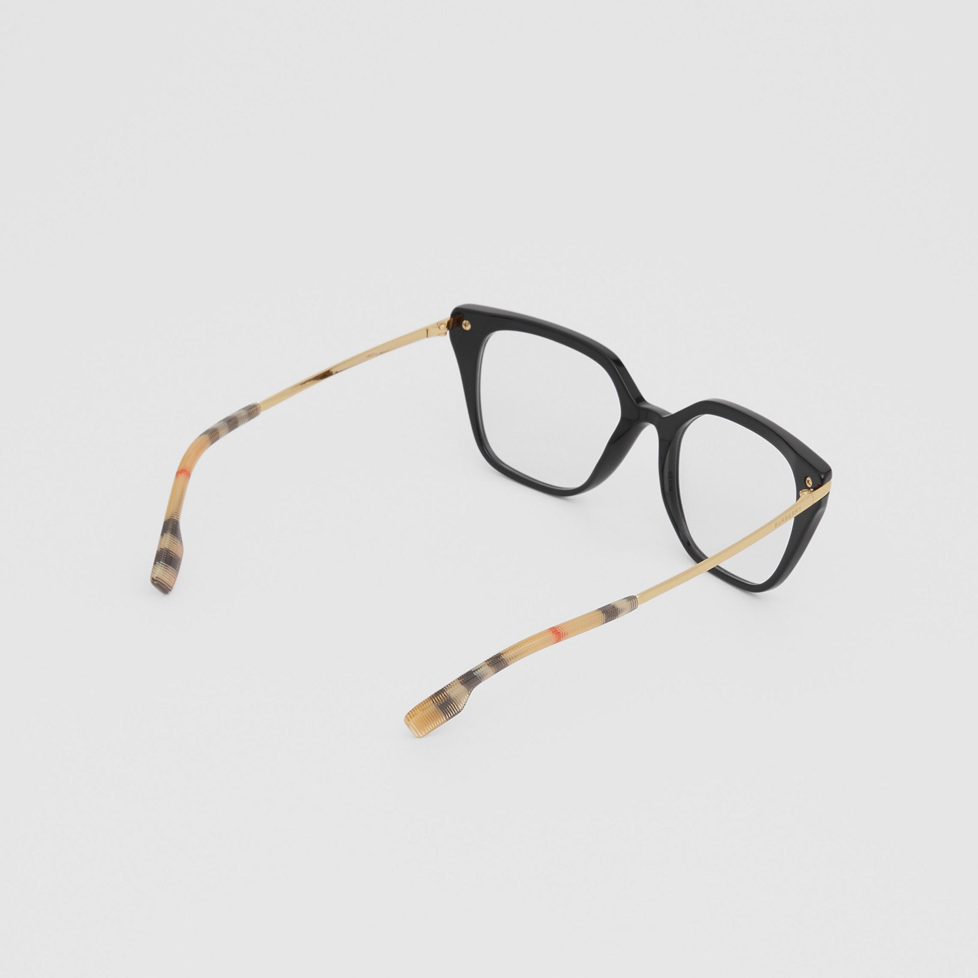 Vintage Check Detail Square Optical Frames in Black/archive Beige - Women | Burberry Canada - gallery image 3