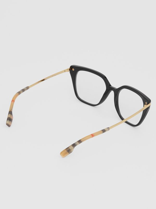 Vintage Check Detail Square Optical Frames in Black/archive Beige - Women | Burberry Canada - cell image 3