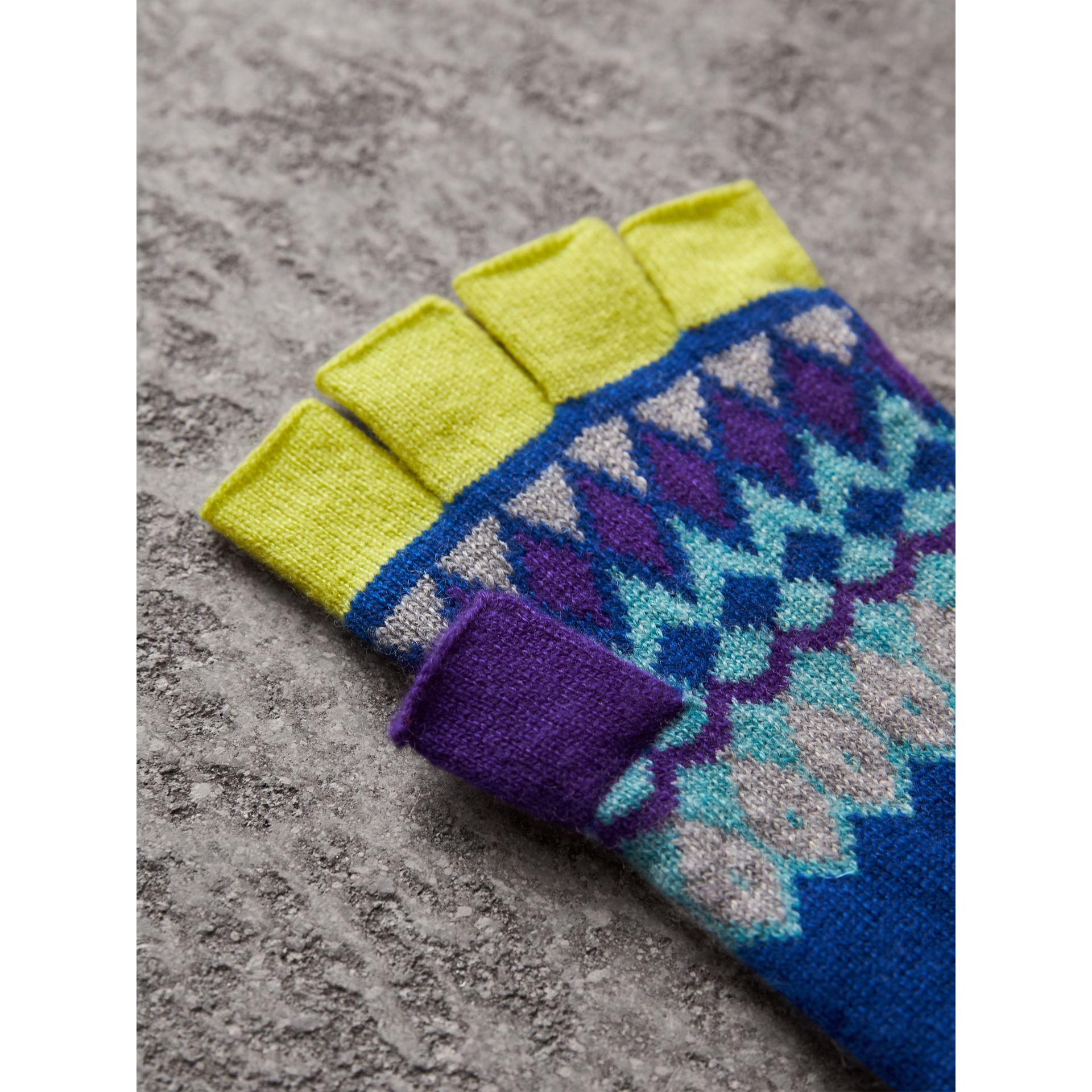 Striped Fair Isle Cashmere Wool Fingerless Gloves in Bright Blue | Burberry Singapore - gallery image 2