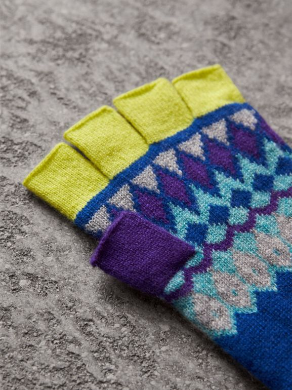 Striped Fair Isle Cashmere Wool Fingerless Gloves in Bright Blue | Burberry - cell image 1
