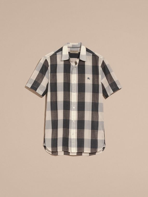 Short-sleeved Exploded Gingham Cotton Linen Shirt Pale Cornflower Blue - cell image 3