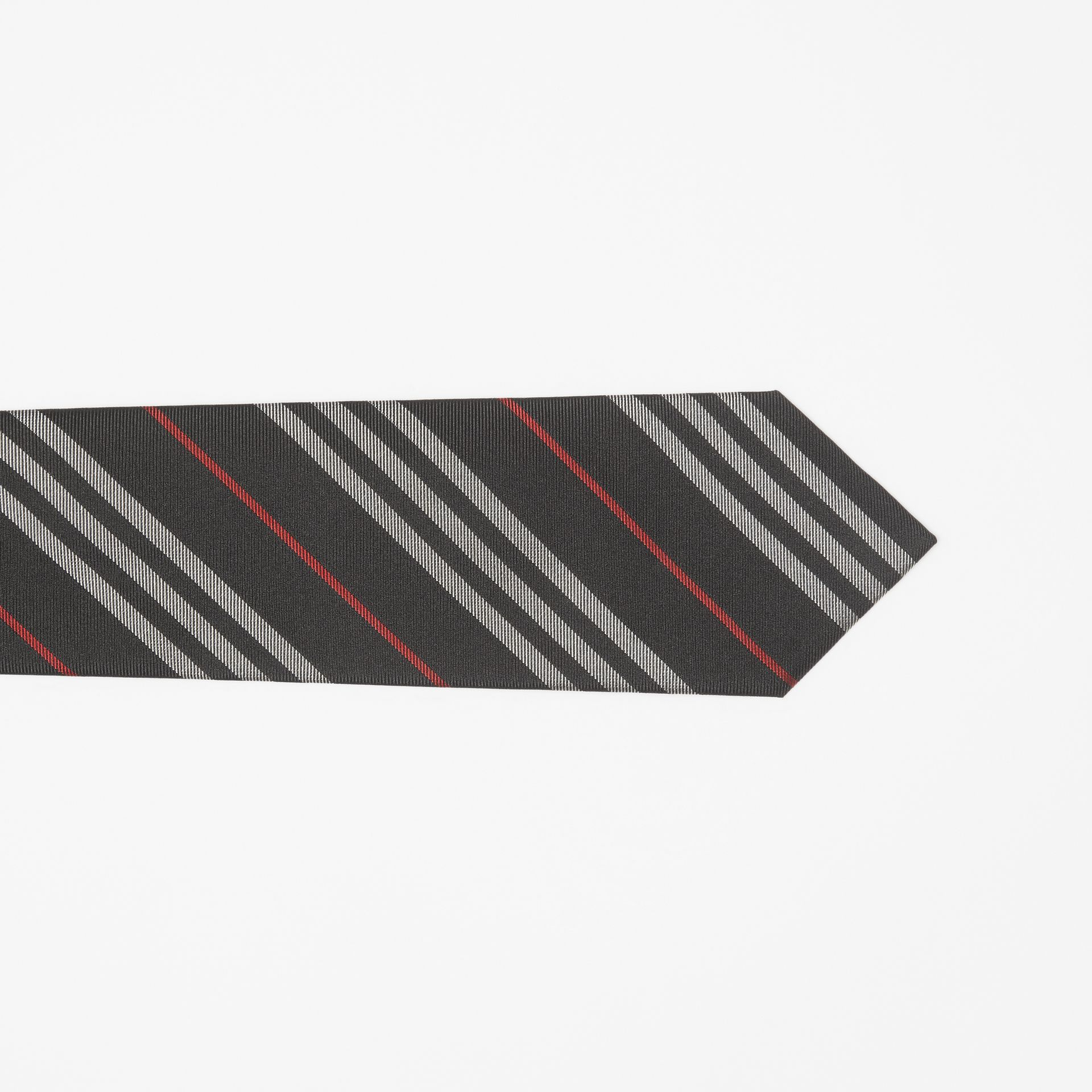 Classic Cut Striped Silk Jacquard Tie in Black - Men | Burberry United States - gallery image 1
