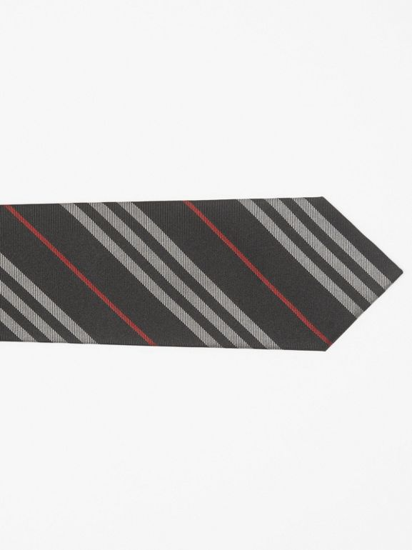 Classic Cut Striped Silk Jacquard Tie in Black - Men | Burberry United States - cell image 1