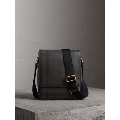 79b757ce48989 Burberry Check Fold-Over Messenger Bag In Black