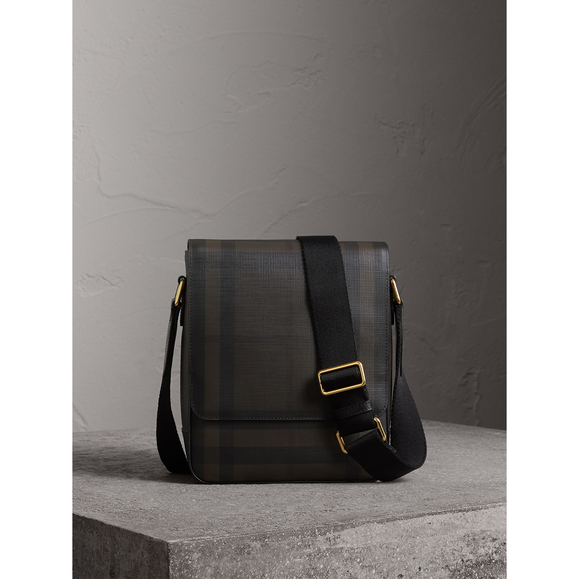 London Check Crossbody Bag in Chocolate/black - Men | Burberry Canada - gallery image 1