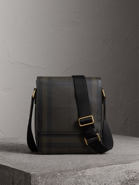 London Check Crossbody Bag in Chocolate/black - Men | Burberry Hong Kong