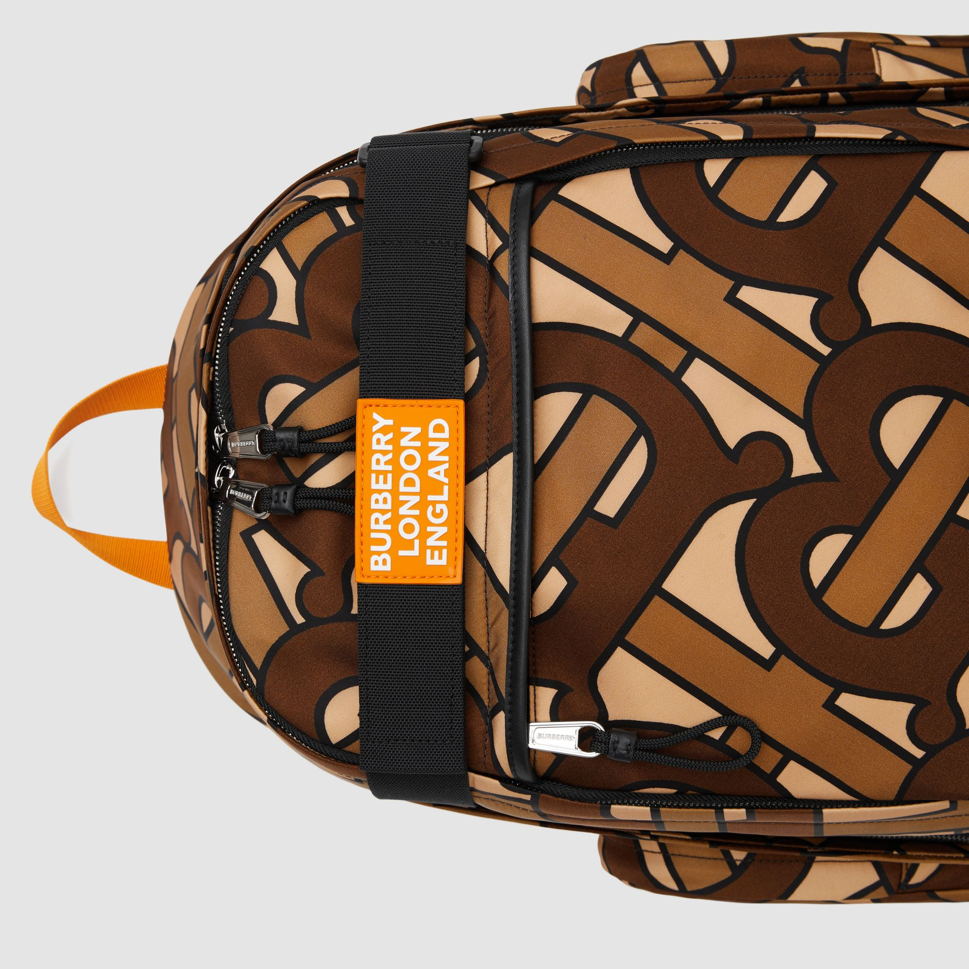 Large Leather Trim Monogram Print Nevis Backpack in Bridle Brown | Burberry United Kingdom - gallery image 1