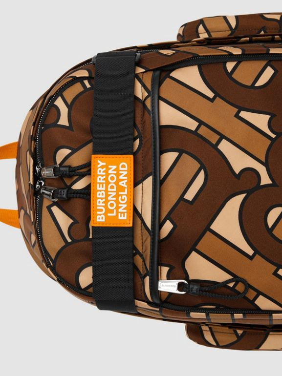 Large Leather Trim Monogram Print Nevis Backpack in Bridle Brown | Burberry - cell image 1