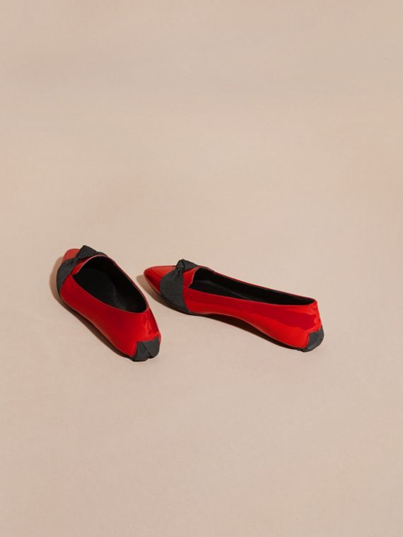 Peony red Patent Leather Loafers with Grosgrain Bow Peony Red - cell image 3