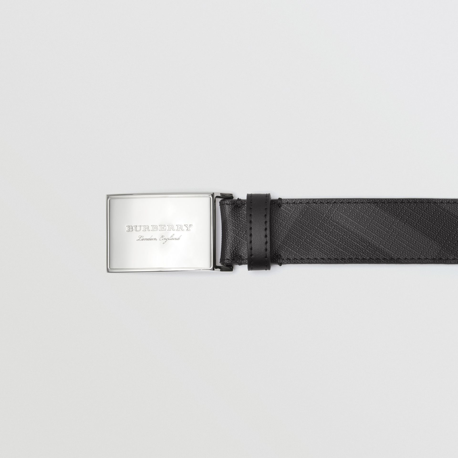 Plaque Buckle London Check  and Leather Belt in Charcoal/black - Men | Burberry Australia - gallery image 1
