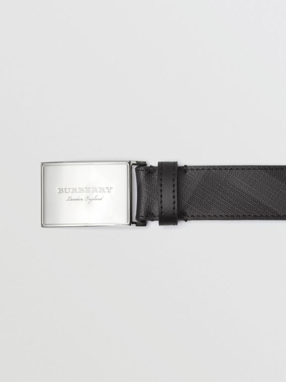 Plaque Buckle London Check  and Leather Belt in Charcoal/black - Men | Burberry Australia - cell image 1