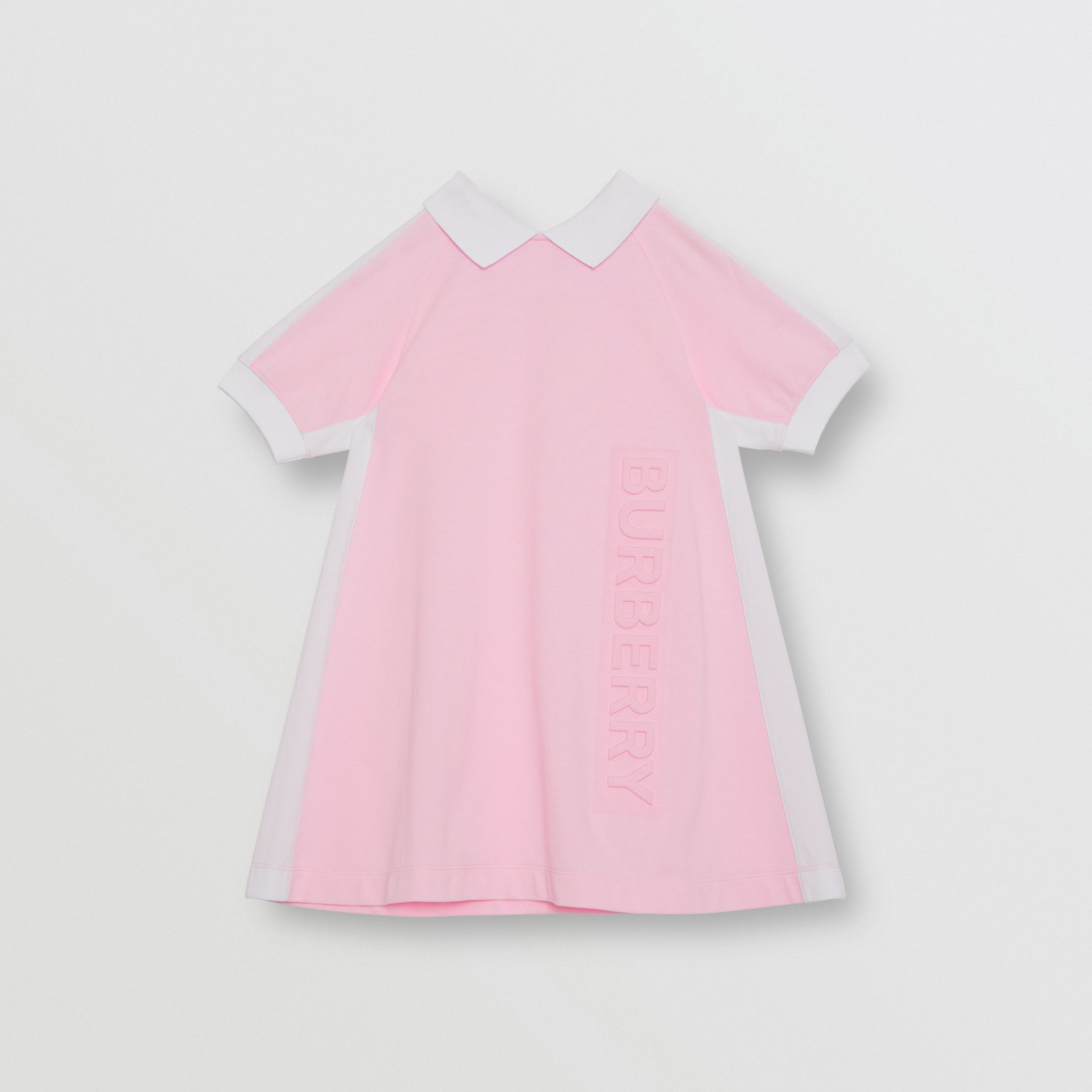 Embossed Logo Cotton Piqué Polo Dress in Pale Neon Pink | Burberry - gallery image 0