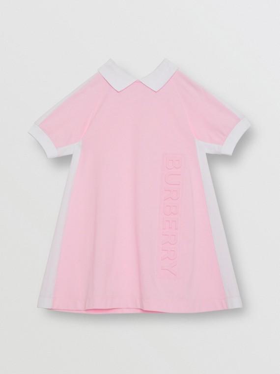 Vestitino polo in cotone piqué con logo in rilievo (Rosa Neon Pallido)