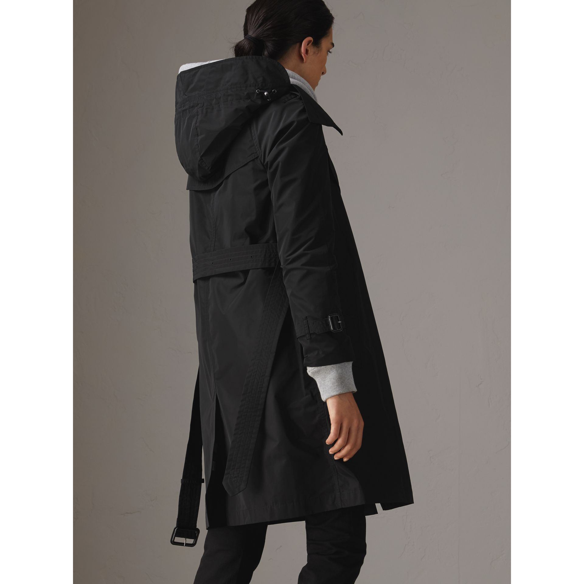 Detachable Hood Taffeta Trench Coat in Black - Women | Burberry United States - gallery image 2