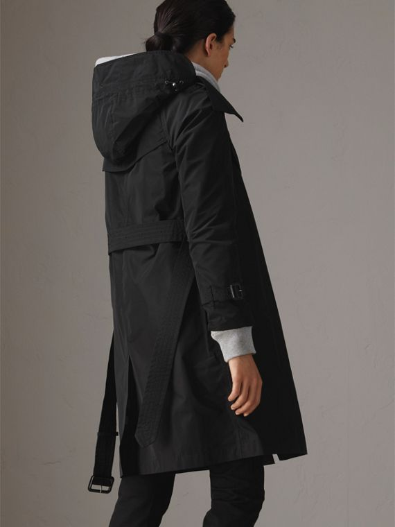 Detachable Hood Taffeta Trench Coat in Black - Women | Burberry Singapore - cell image 2