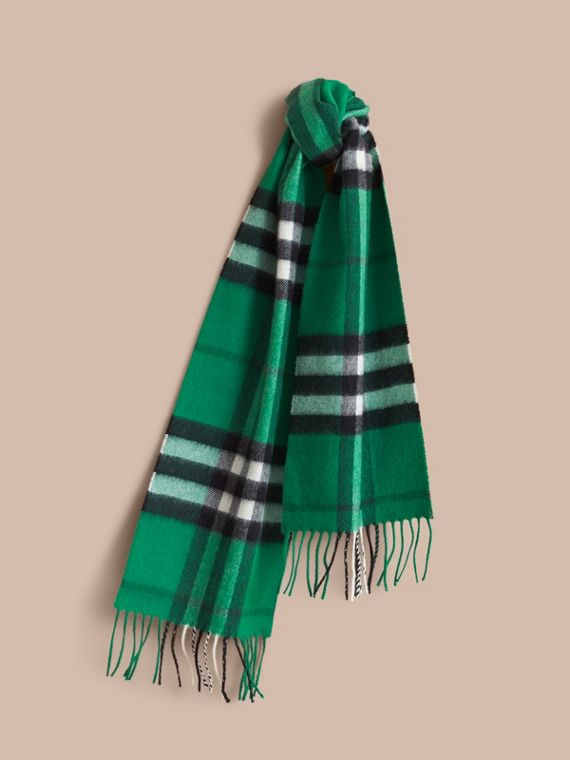 The Mini Classic Cashmere Scarf in Check in Emerald | Burberry Singapore