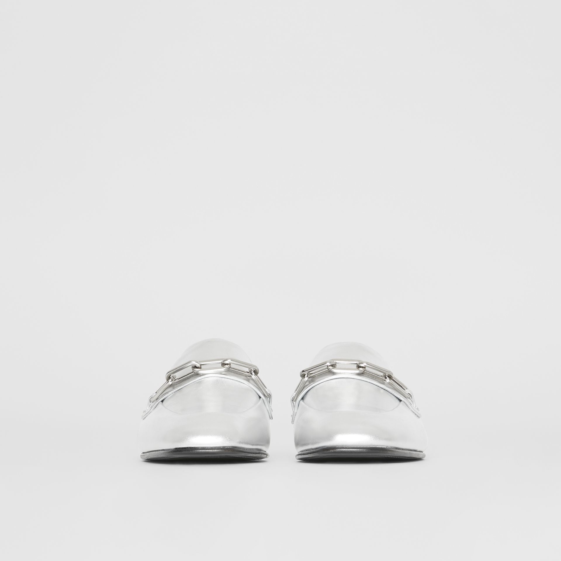 Link Detail Leather Slingback Loafers in Silver Grey - Women | Burberry - gallery image 3