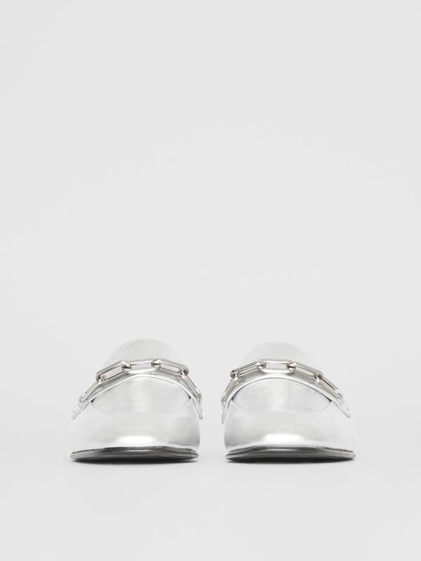 Link Detail Leather Slingback Loafers in Silver Grey - Women | Burberry - cell image 3