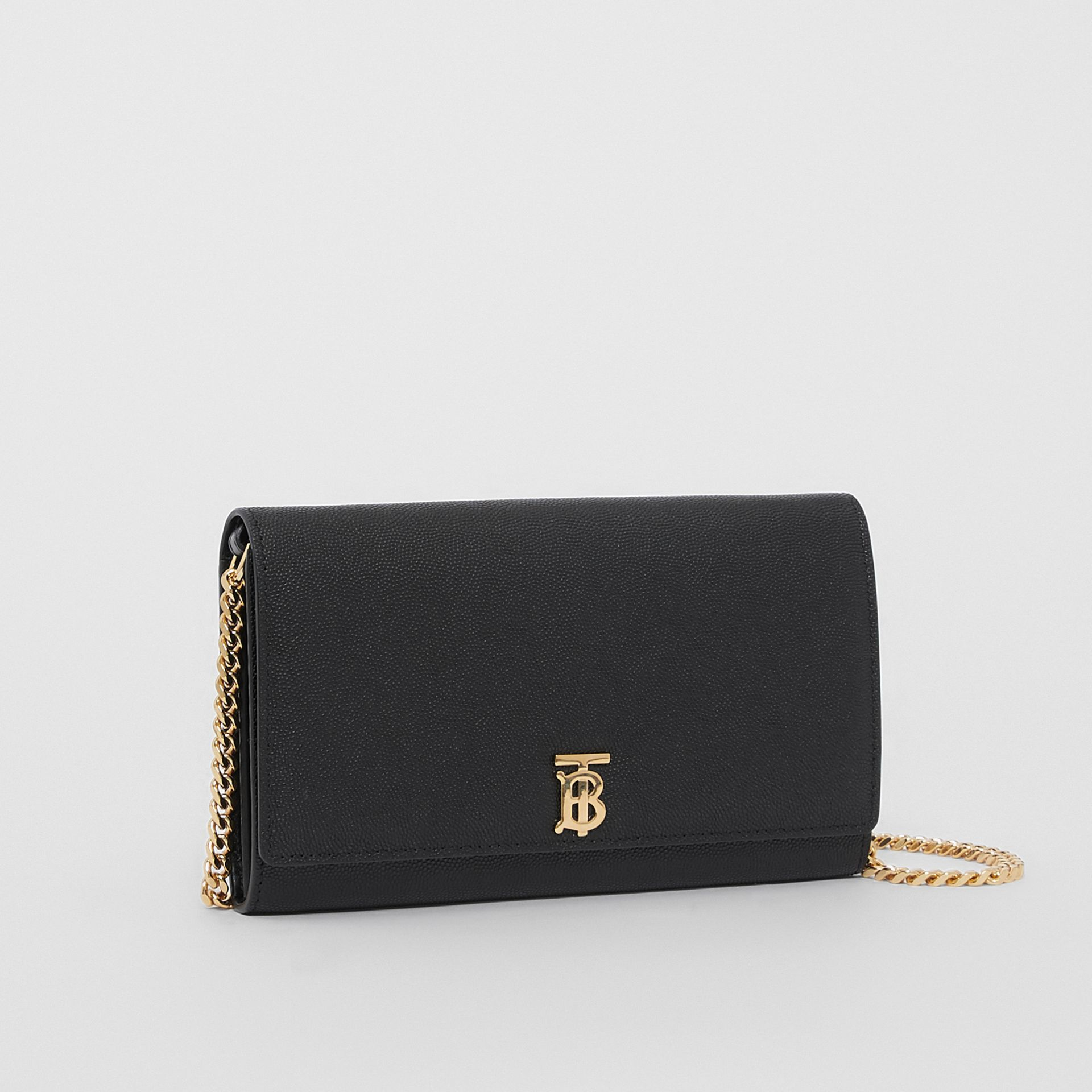 Monogram Motif Leather Wallet with Detachable Strap in Black - Women | Burberry United Kingdom - gallery image 6