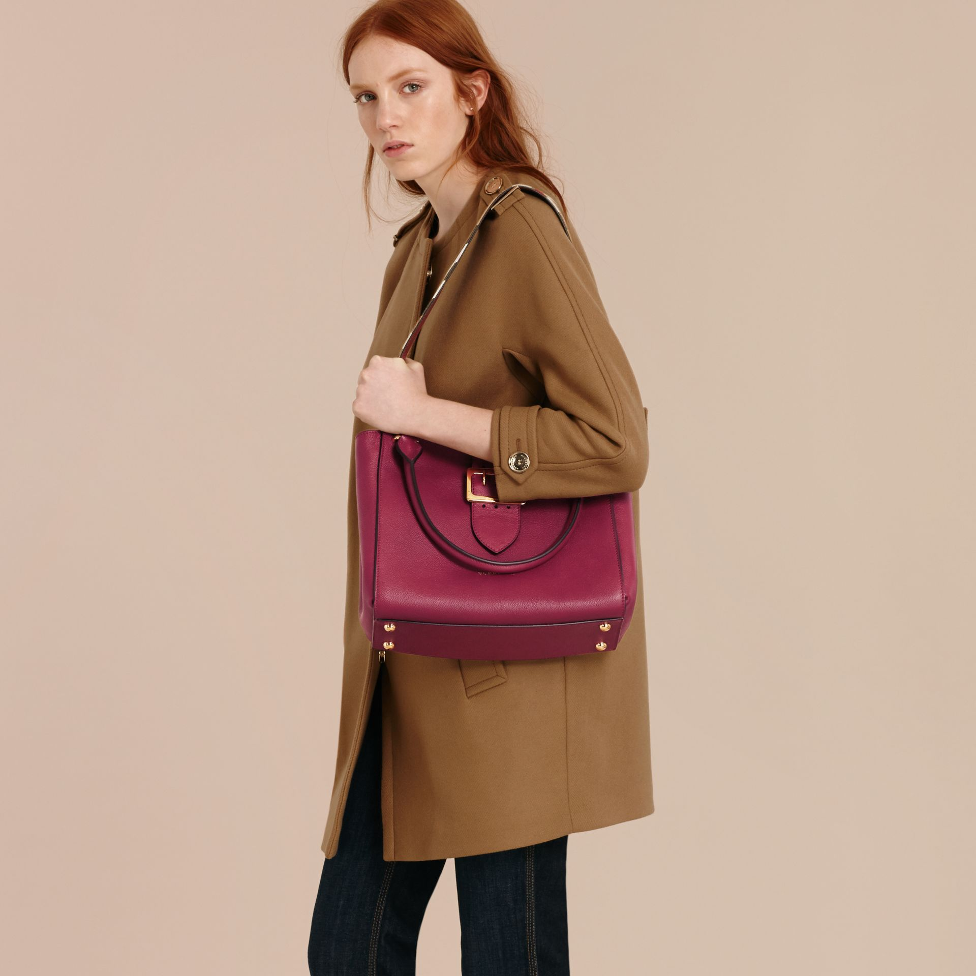 The Medium Buckle Tote in Grainy Leather Dark Plum - gallery image 3