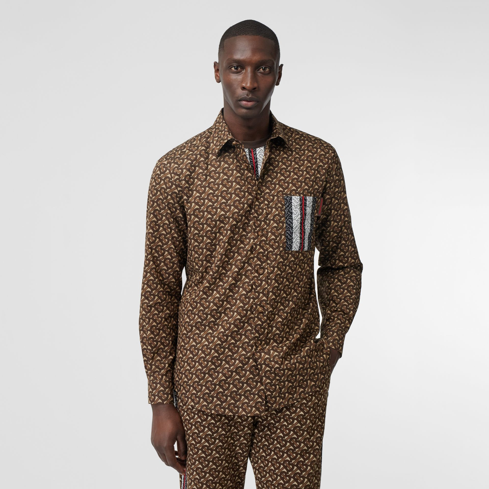Monogram Stripe Print Cotton Shirt in Bridle Brown - Men | Burberry United Kingdom - gallery image 0