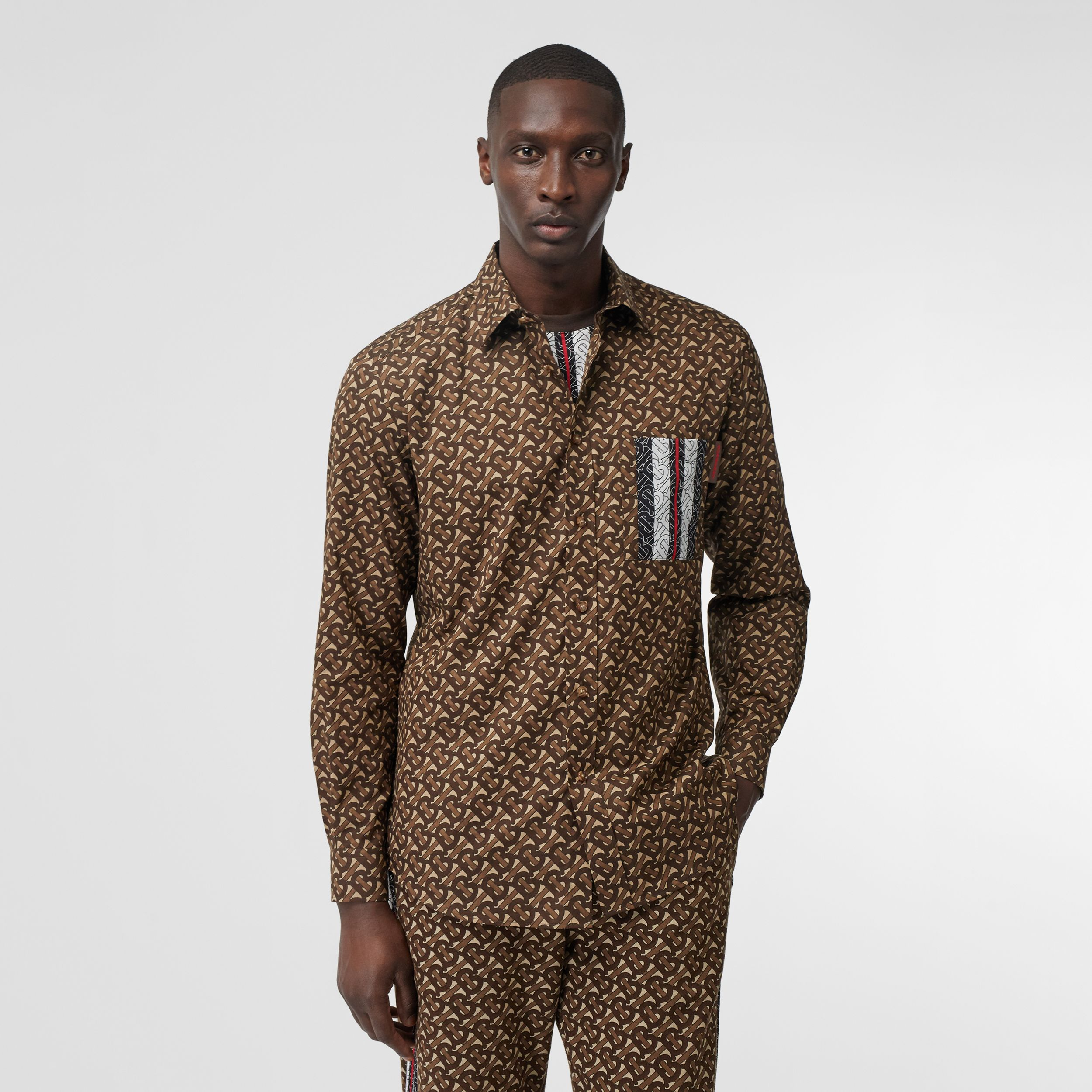 Monogram Stripe Print Cotton Shirt in Bridle Brown - Men | Burberry - 1