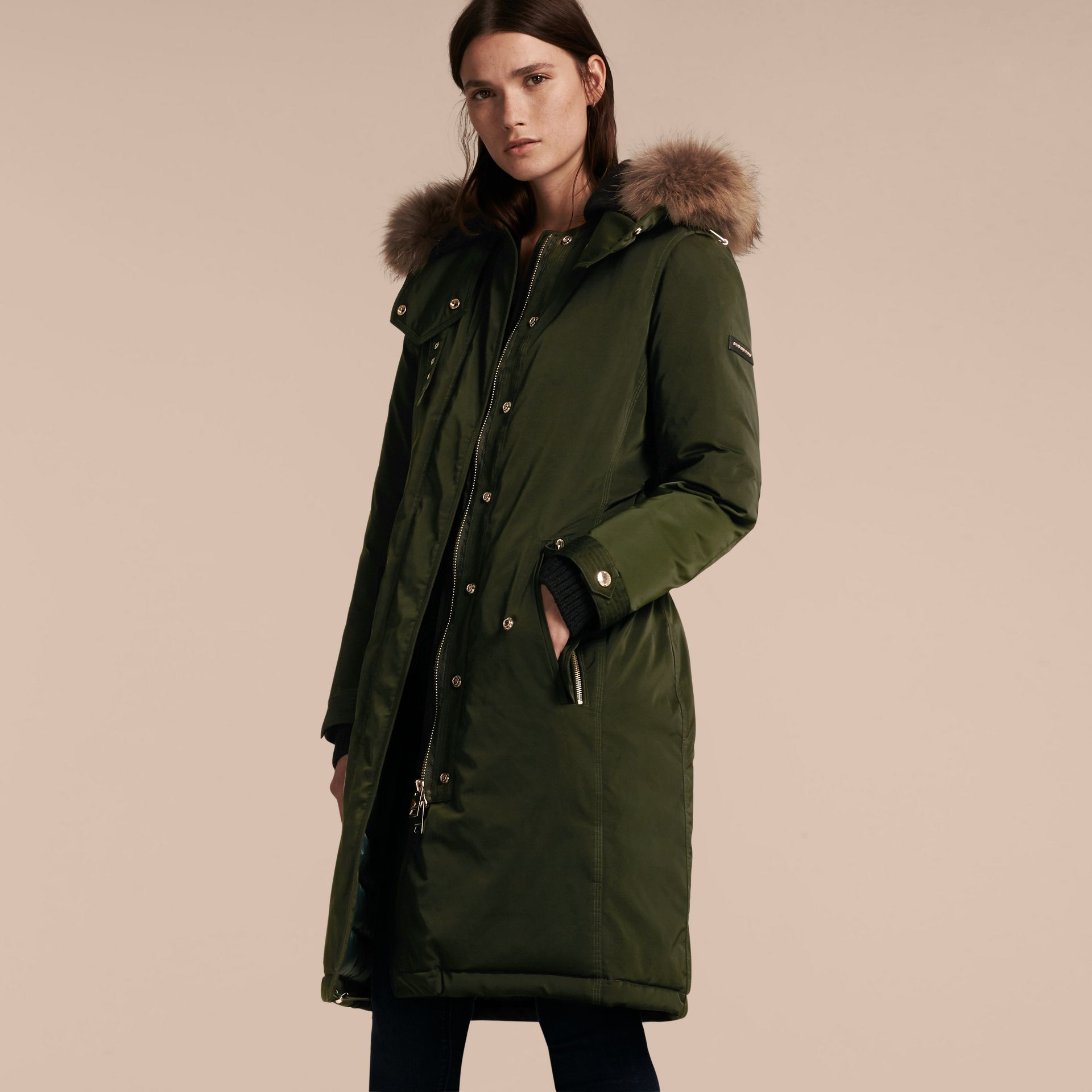 Dark cedar green Down-filled Parka Coat with Detachable Fur Trim Dark Cedar Green - gallery image 7