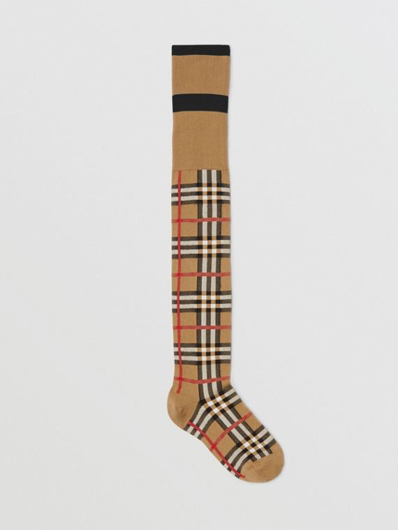 Vintage Check Jacquard Socks in Antique Yellow