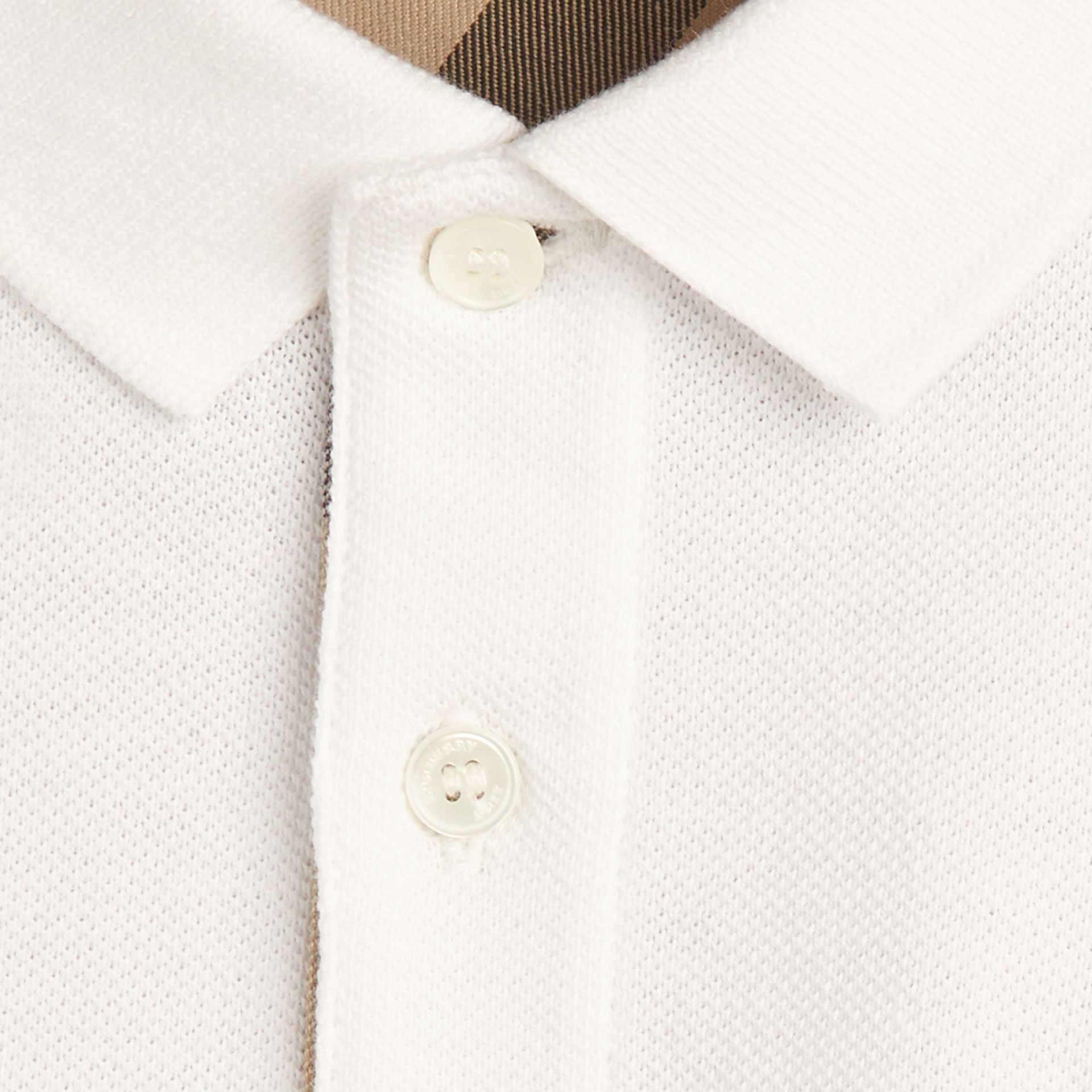 Blanc Polo avec patte à motif check Blanc - photo de la galerie 2