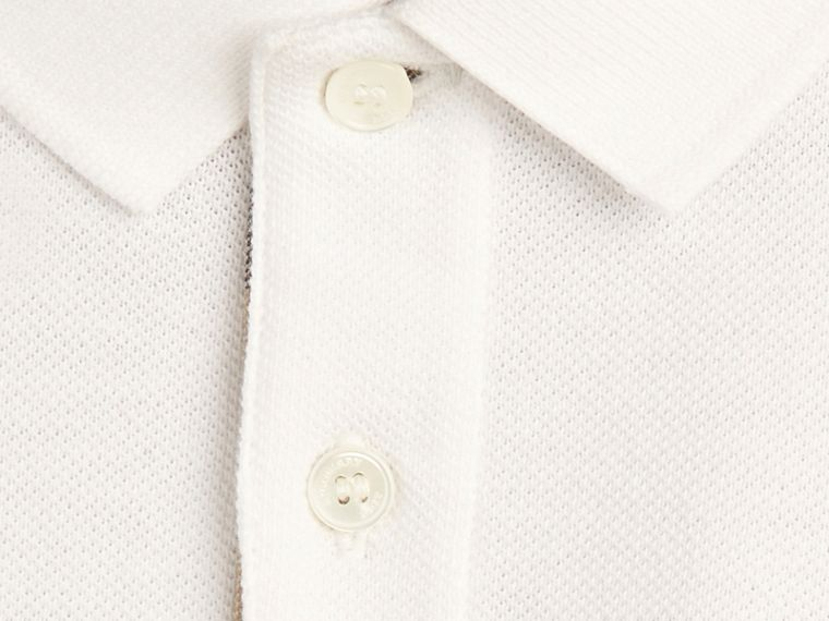 White Check Placket Polo Shirt White - cell image 1
