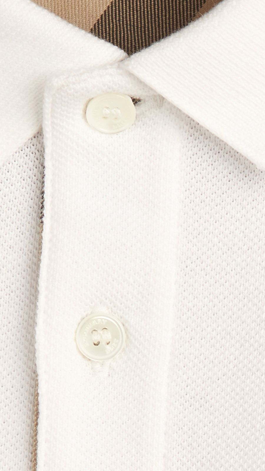 White Check Placket Polo Shirt White - Image 2