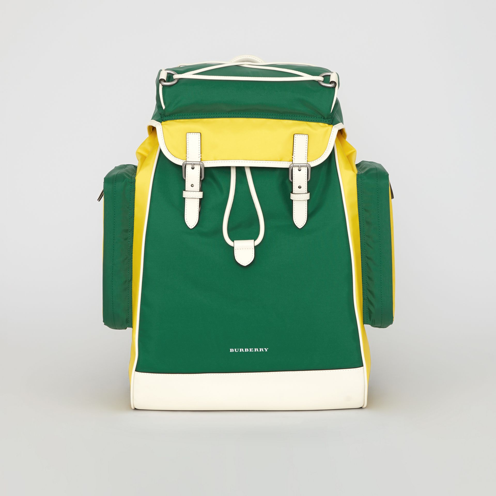 Tri-tone Nylon and Leather Backpack in Pine Green - Men | Burberry - gallery image 0