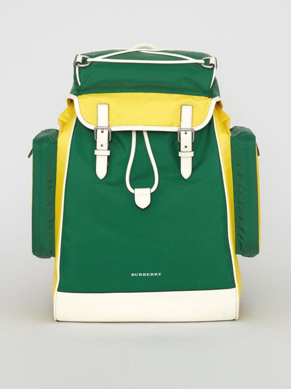 Tri-tone Nylon and Leather Backpack in Pine Green