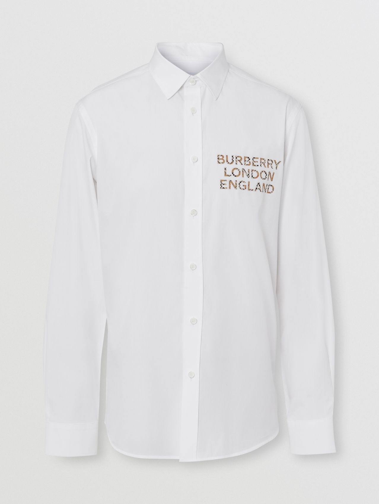 Logo Appliqué Stretch Cotton Poplin Shirt in White