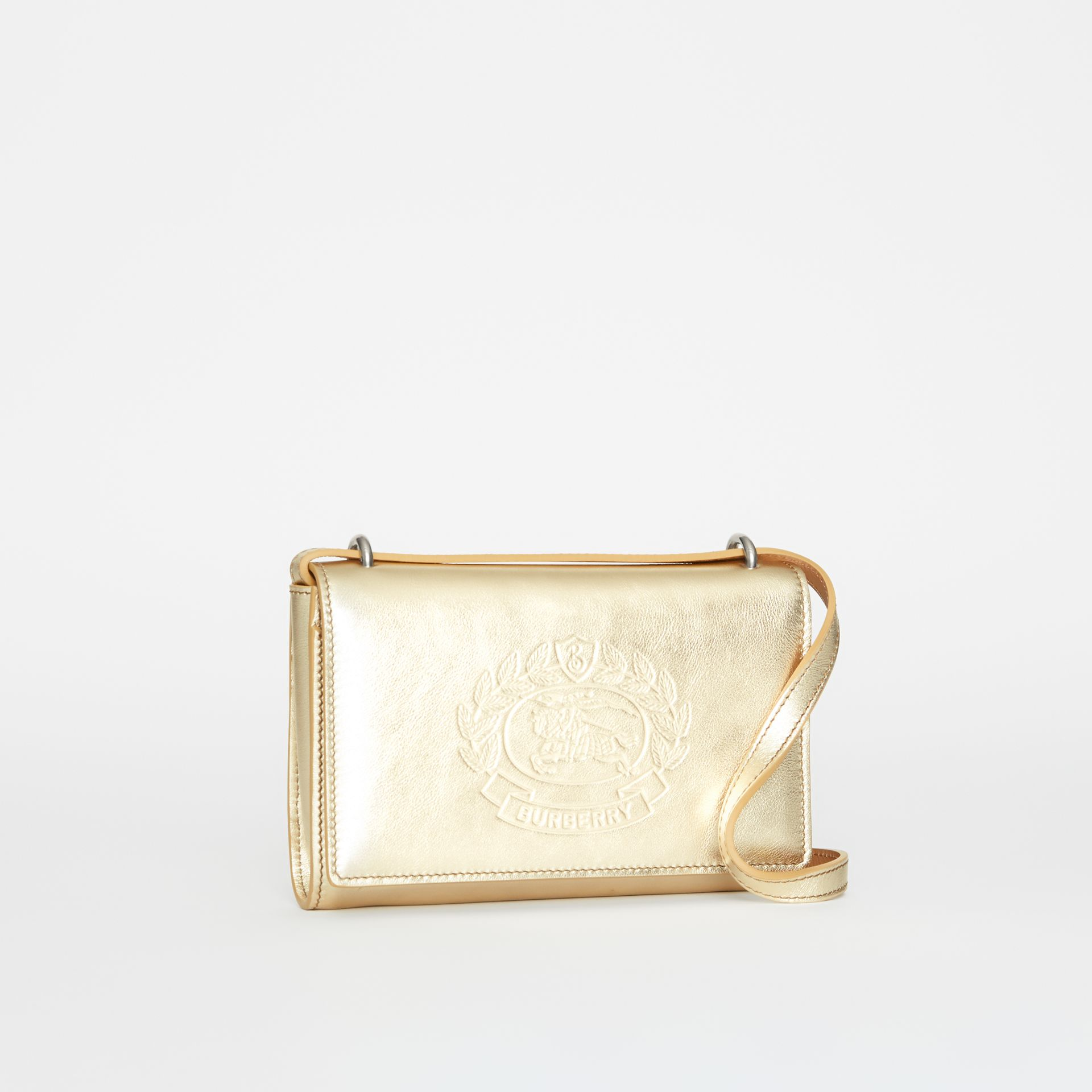 Embossed Crest Metallic Leather Wallet with Detachable Strap in Gold - Women | Burberry United States - gallery image 4