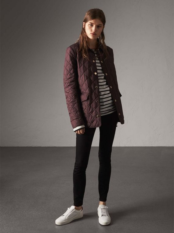 Check Detail Diamond Quilted Jacket in Burgundy