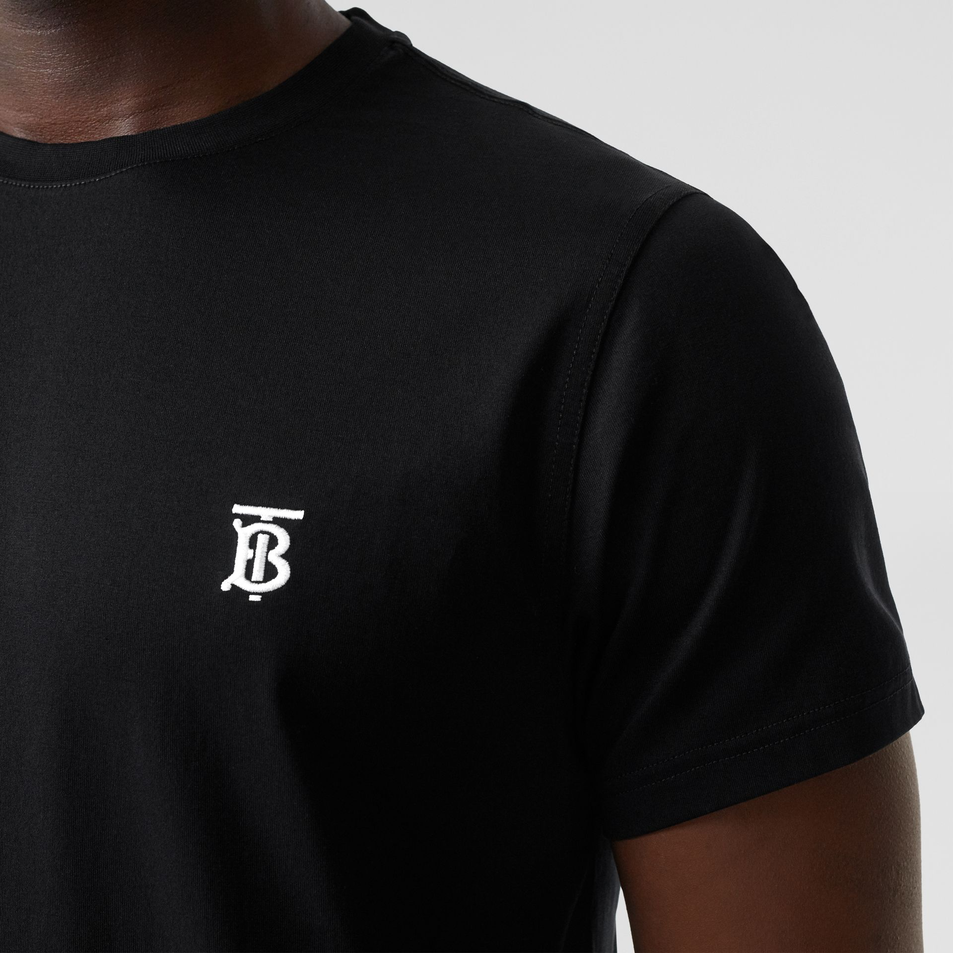Monogram Motif Cotton T-shirt in Black - Men | Burberry Canada - gallery image 1