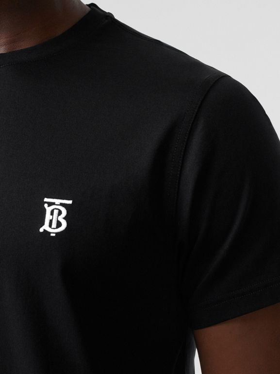 Monogram Motif Cotton T-shirt in Black - Men | Burberry Canada - cell image 1