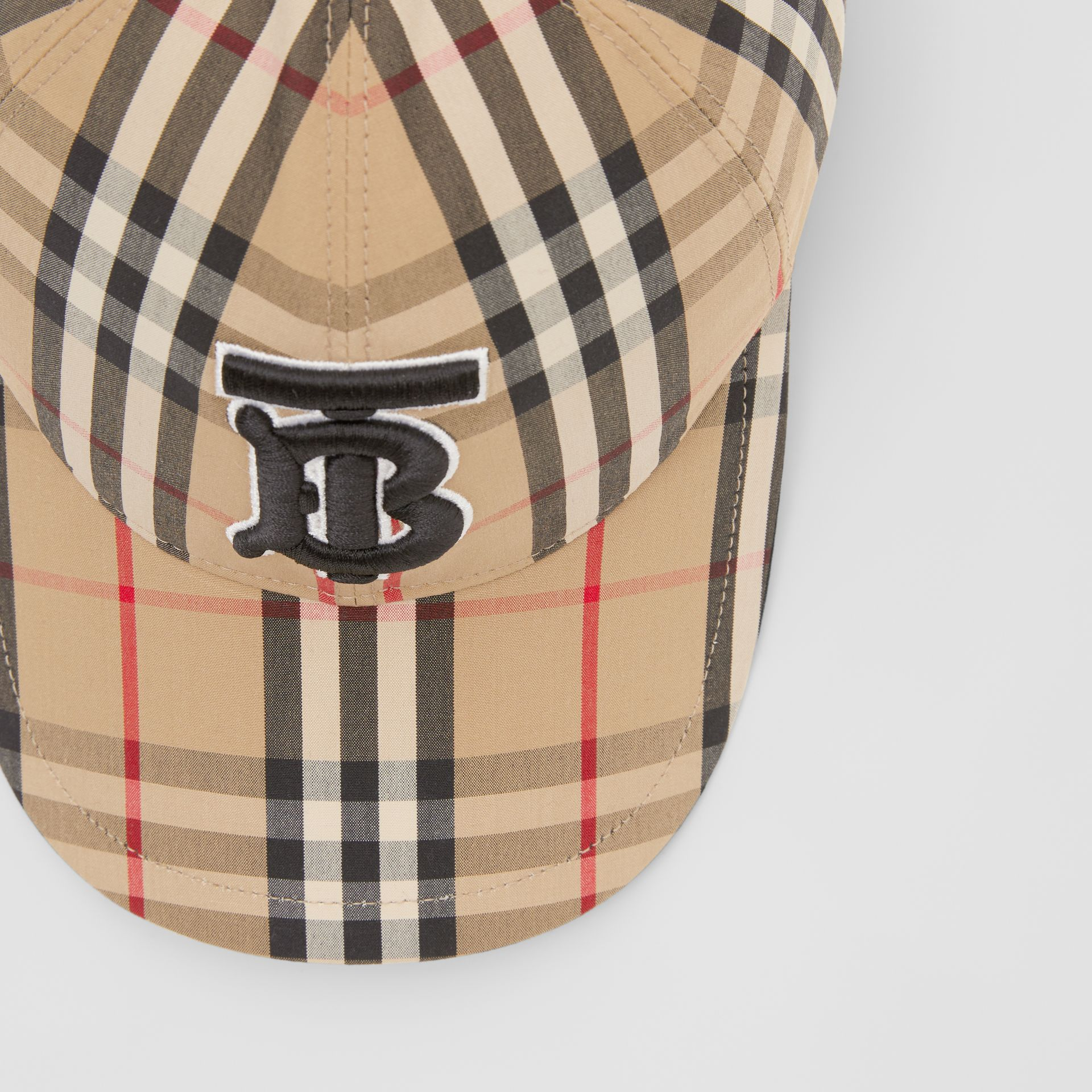 Monogram Motif Vintage Check Baseball Cap in Archive Beige | Burberry - gallery image 1