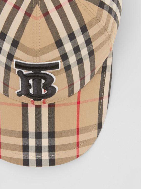 Monogram Motif Vintage Check Baseball Cap in Archive Beige | Burberry United Kingdom - cell image 1