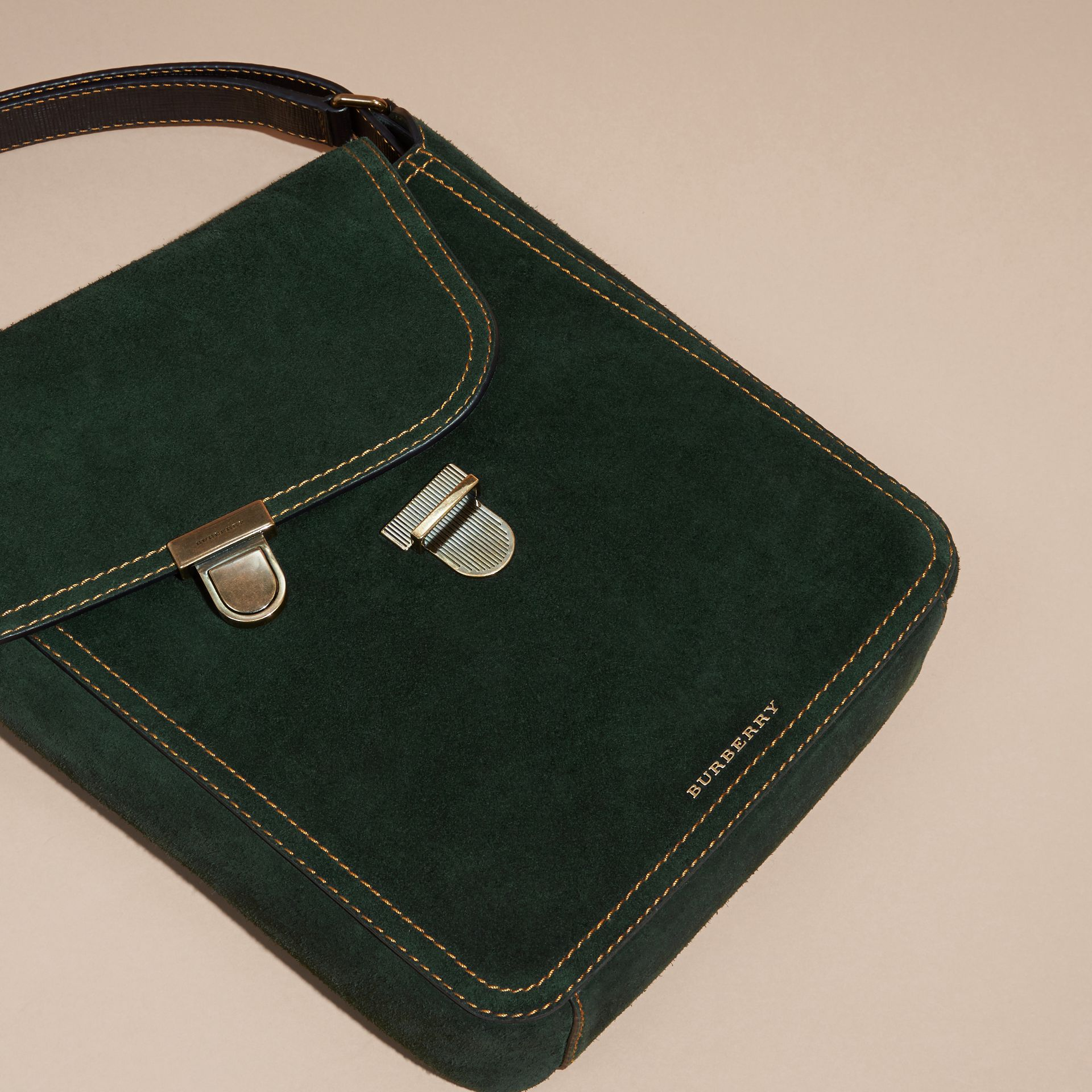 Dark forest green The Medium Satchel in English Suede - gallery image 2