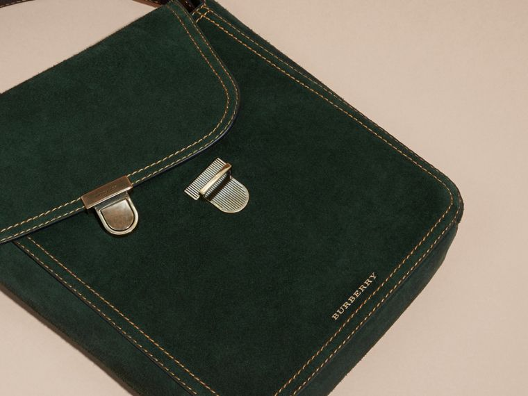 Dark forest green The Medium Satchel in English Suede - cell image 1