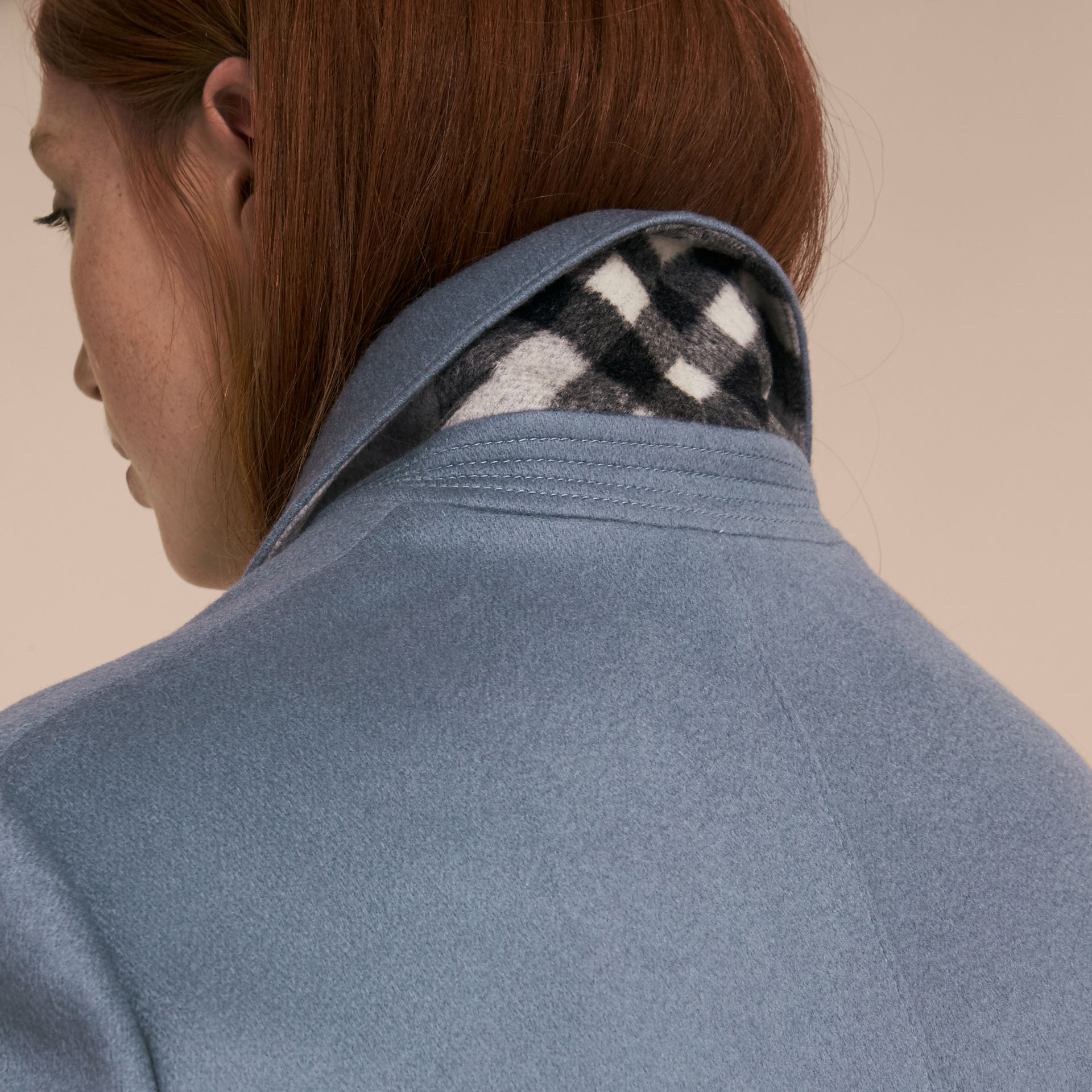 Pale blue Cashmere Tailored Coat - gallery image 3