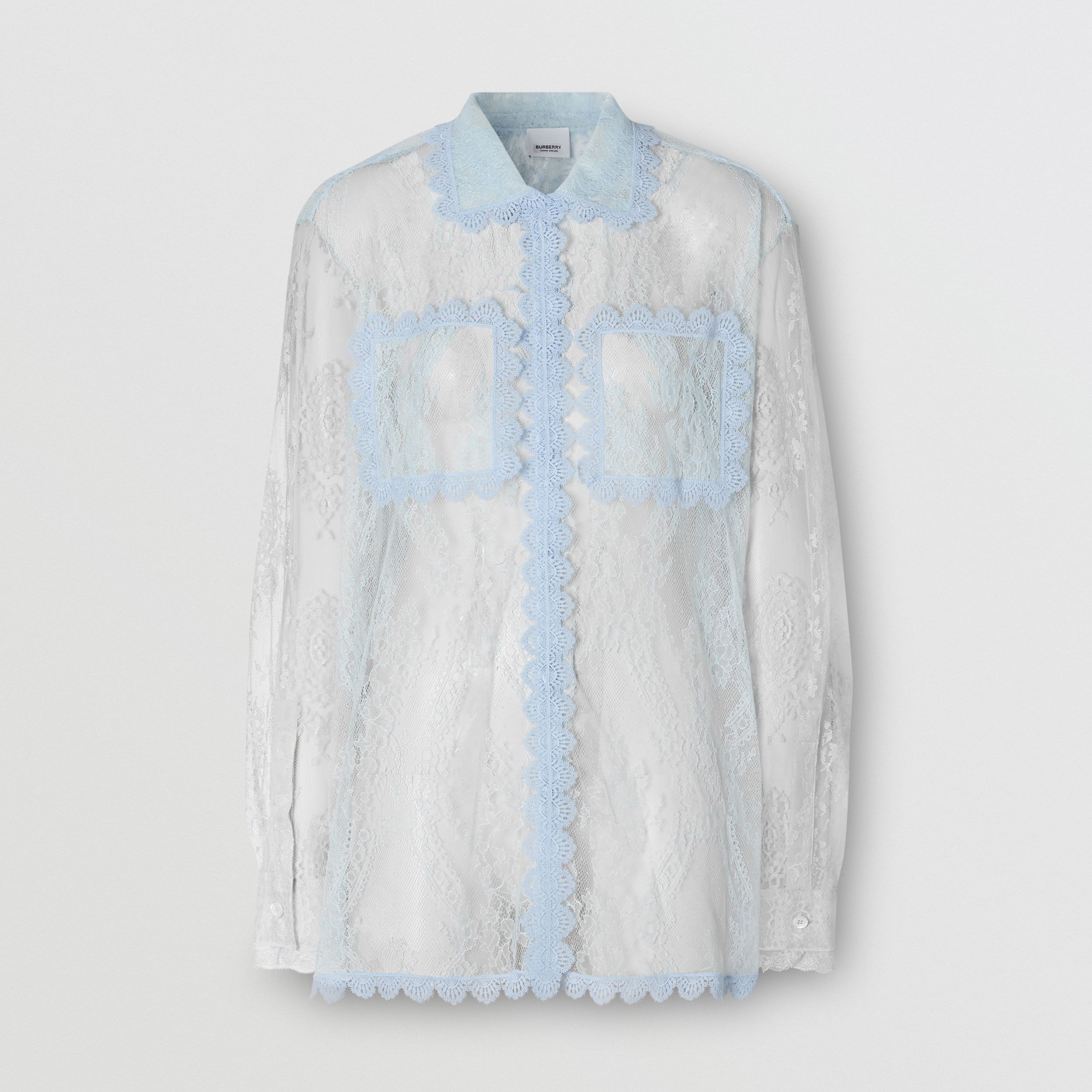 Two-tone Chantilly Lace Shirt in Pale Blue - Women | Burberry - 1