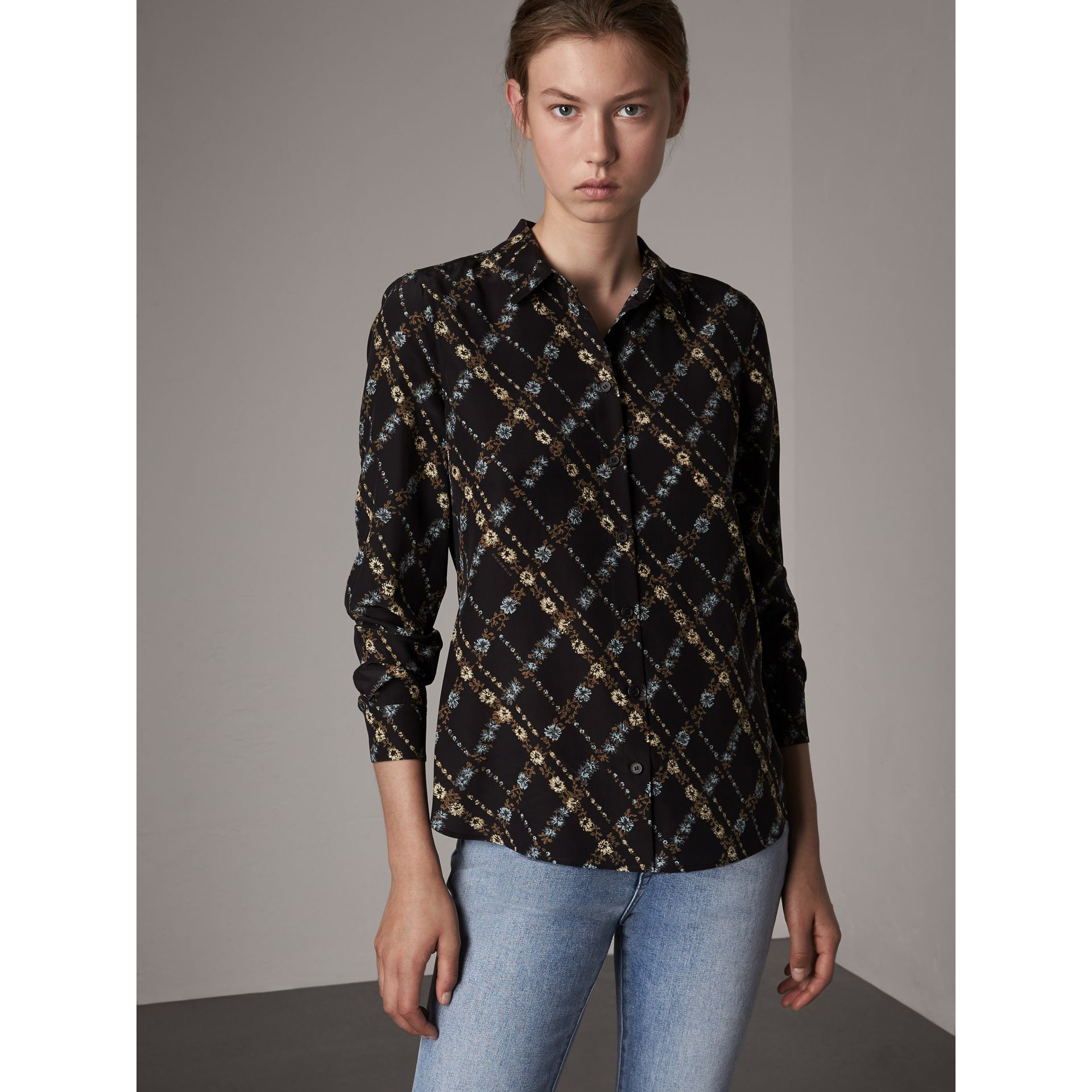 Lattice Floral Print Silk Shirt in Black - Women | Burberry - gallery image 1
