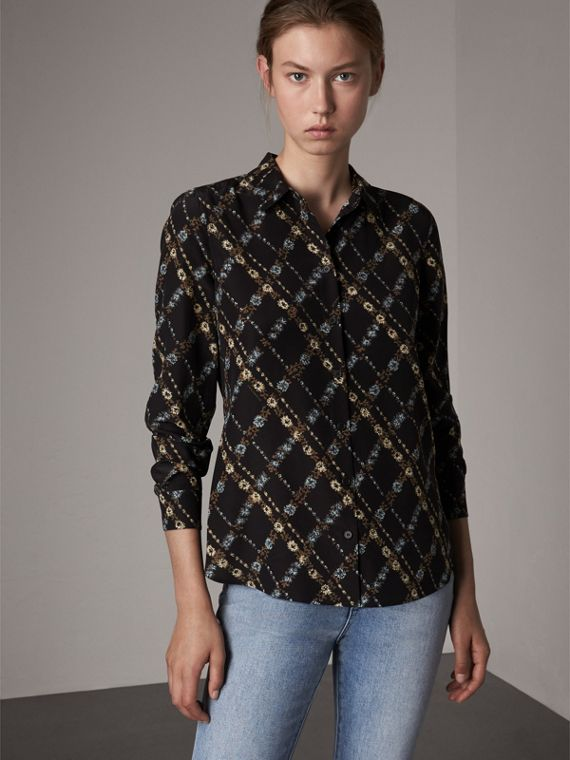 Lattice Floral Print Silk Shirt in Black