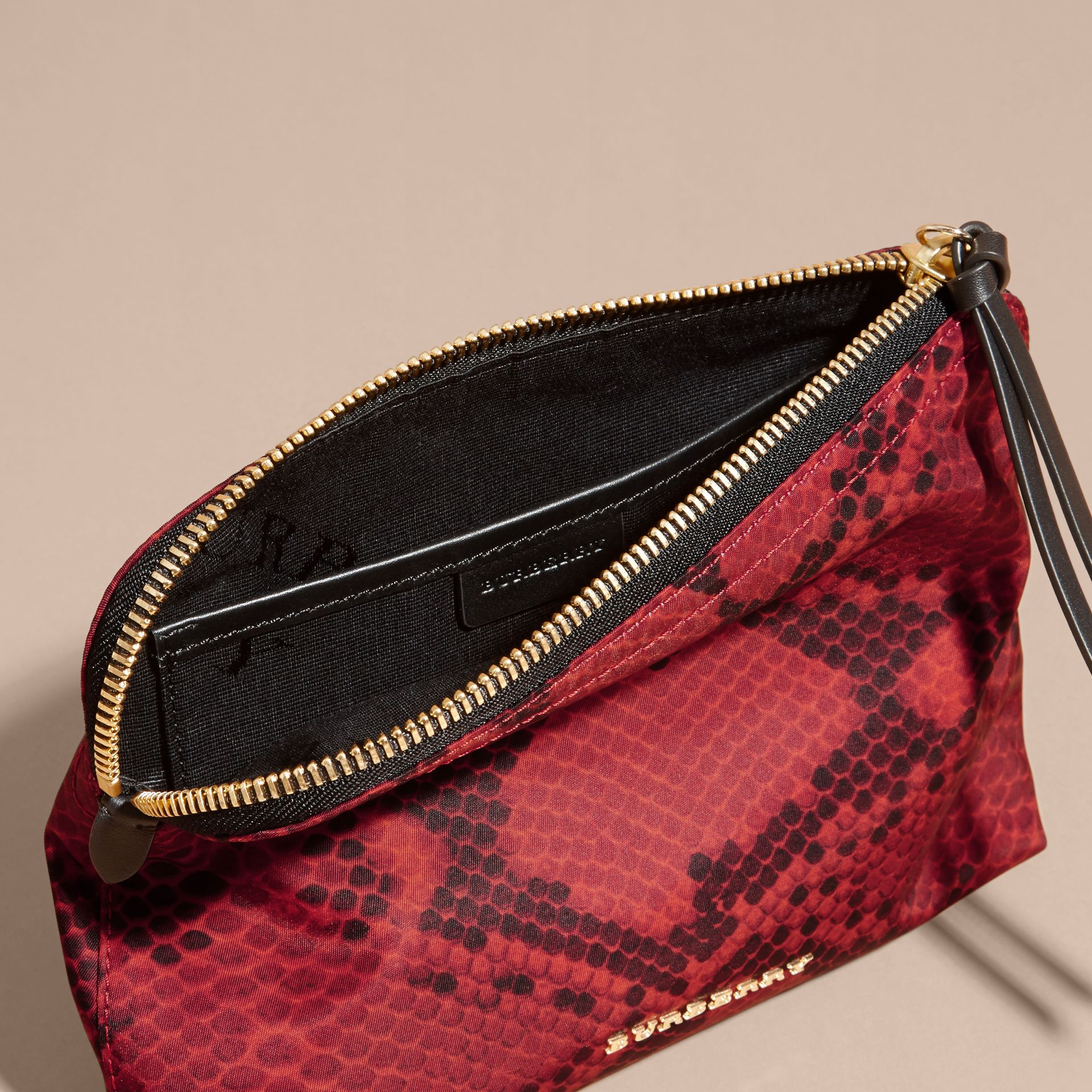 Burgundy red Large Zip-top Python-print Technical Nylon Pouch Burgundy Red - gallery image 4